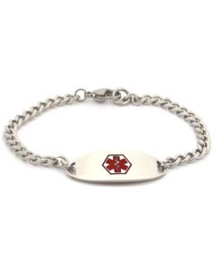 "Curb Chain Bracelet-Red-6-1/2"" fits 5-1/2"" wrists"