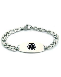 "Figaro Chain Bracelet-Black-6-1/2"" fits 5-1/2"" wrists"