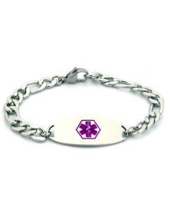 "Figaro Chain Bracelet-Purple-6-1/2"" fits 5-1/2"" wrists"