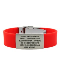 Silicone Classic Solid Band with 1.375 Plate-Red