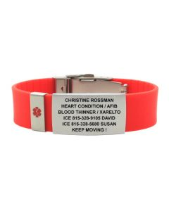 Silicone Classic 1.375 Plate with Medical Badge-Red